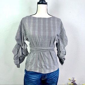 Zara (S) Wrap Blouse Gathered Sleeves Houndstooth